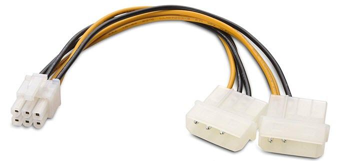 4-pin molex to 6-pin PCI-E power cable