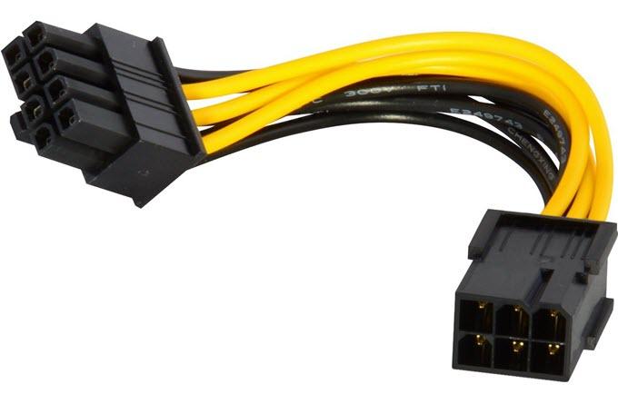 6-pin PCI-E to 8-pin PCI-E power cable