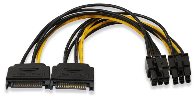 SATA to 6-pin PCI-E power cable