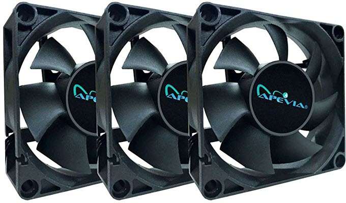 APEVIA-70mm-4pin3pin-Black-Case-Fan